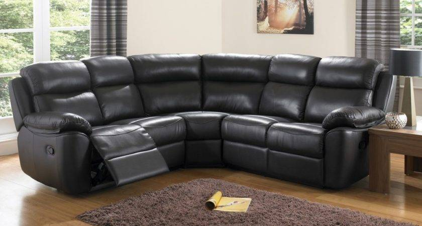 Collection Large Black Leather Corner Sofas