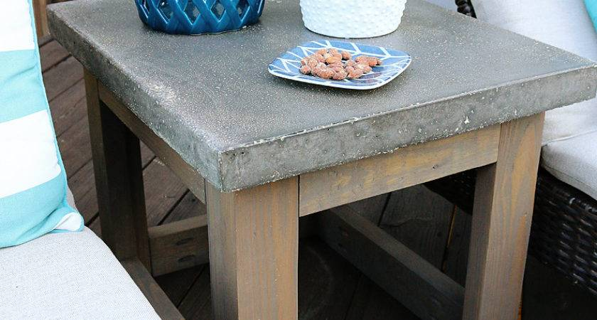 Concrete Wood Outdoor Side Table Bower Power