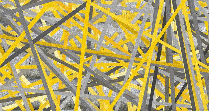Connection Yellow Gray Wall Art Painting Lourry