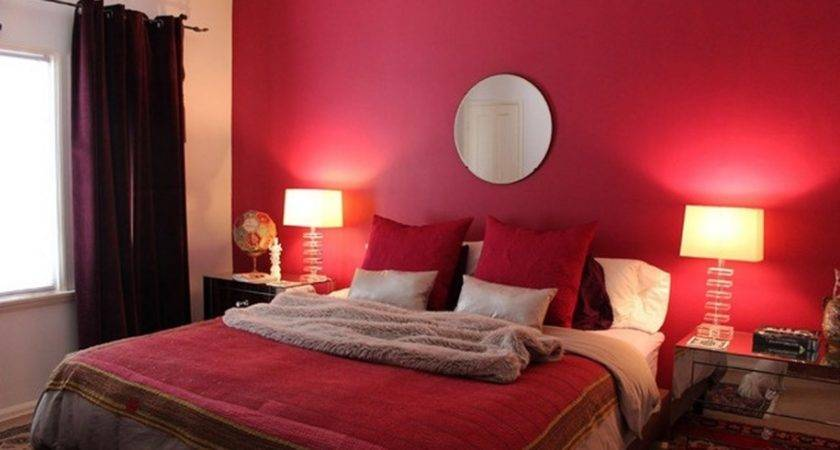 Contemporary Bedroom Red Wall Paint Circle Mirror