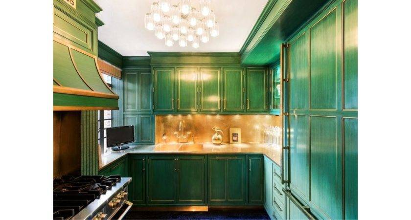 Cook Kitchen Contrasts Emerald Green Cabinets
