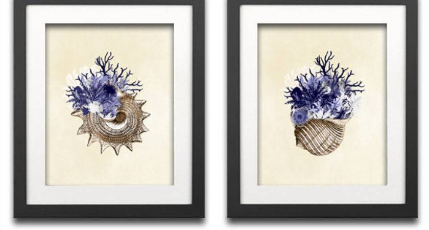 Coral Collage Print Navy Blue Decor