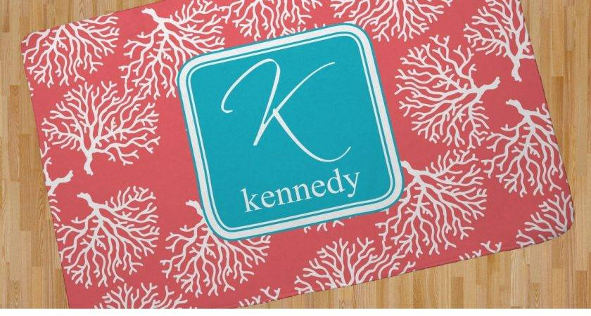 Coral Teal Area Rug Personalized