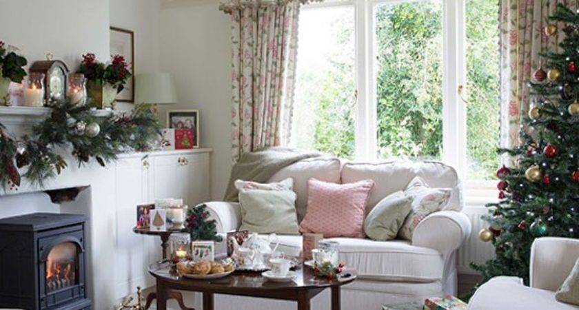 Country Christmas Living Room Pink Accents