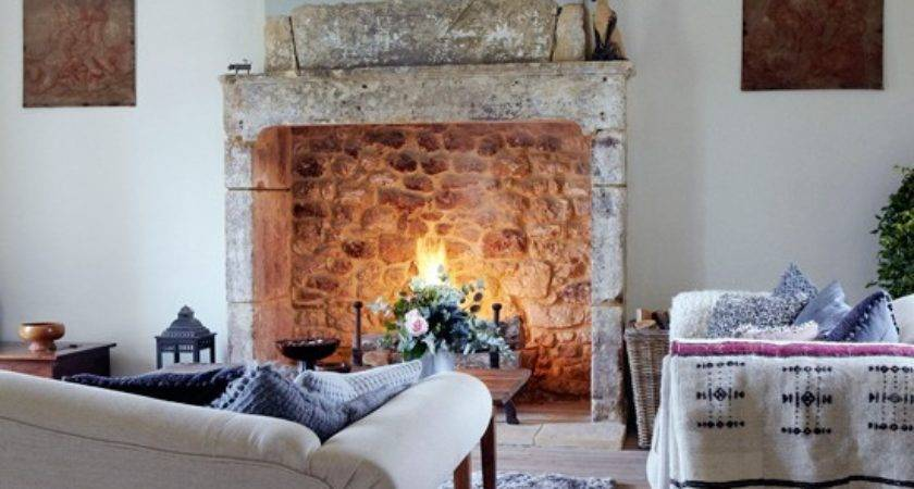 Country Living Room Open Fire Design