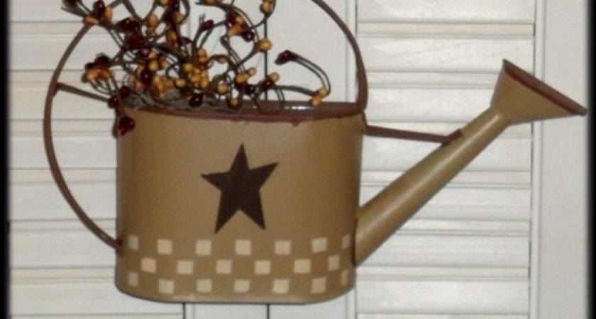 Country Primitive Decor Watering Can Wall Berries