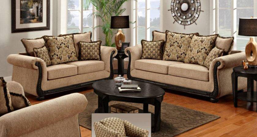 Cozy Living Room Sets Light Brown Fabric Sofa