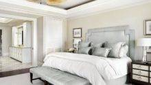Cream Bedroom Walls Silver Gray Headboard