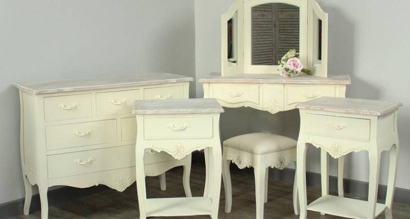 Cream Dressing Table Stool Triple Mirror French Country