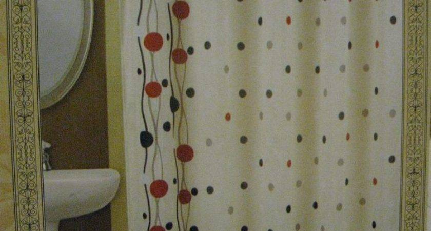 Cream Ivory Red Black Dots Fabric Shower Curtain New Ebay