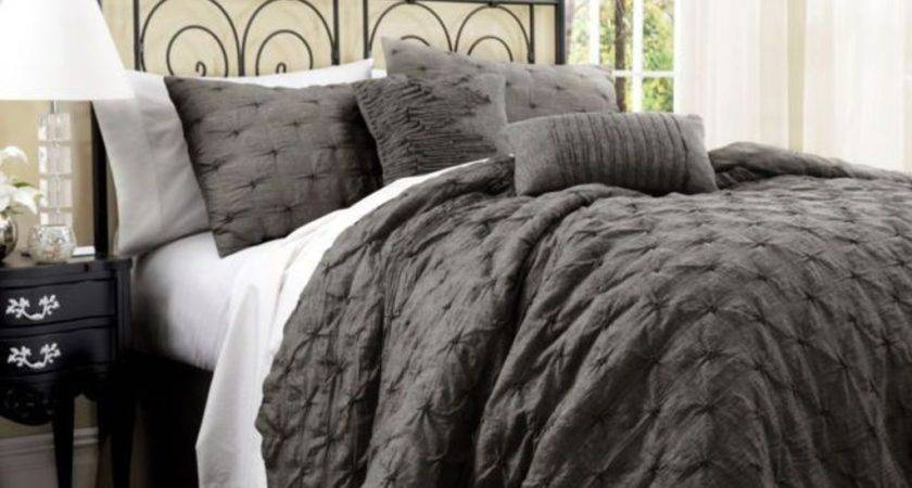 Cream Wall Color Textured Grey Comforter Small