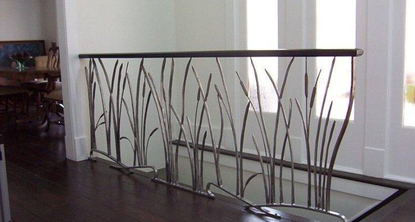 Custom Cat Tail Willow Interior Wrought Iron Railing