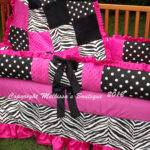 Custom Hot Pink Black White Crib Bedding Complete Piece