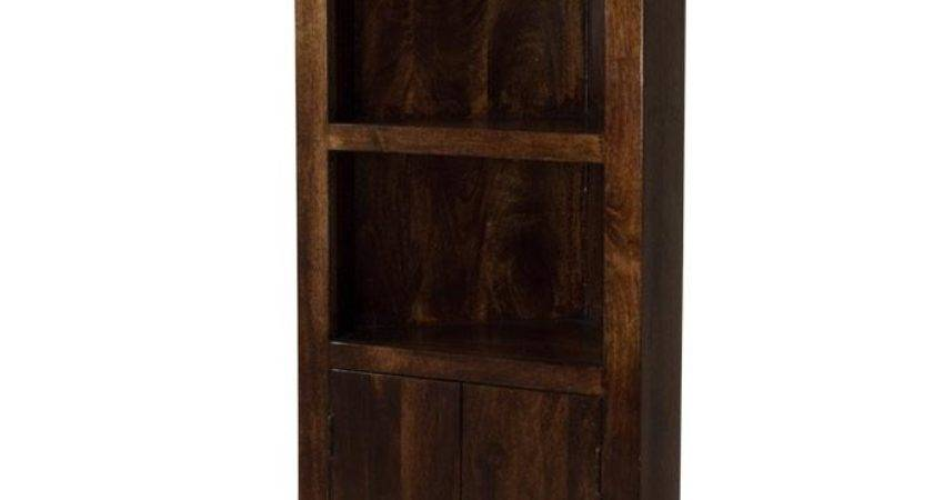 Dakota Dark Mango Corner Bookcase Shelves Cupboard Solid