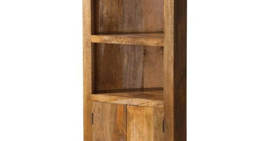 Dakota Light Mango Corner Bookcase Shelves Cupboard Solid