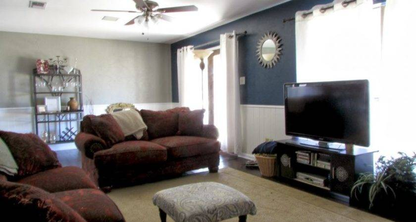 Dark Blue Accent Wall Living Room