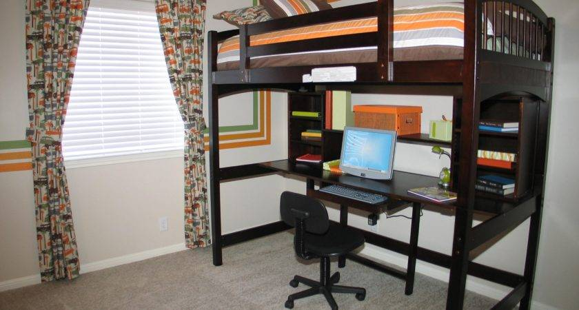 Dark Brown Stained Wooden Loft Bunk Bed Built Teenagers
