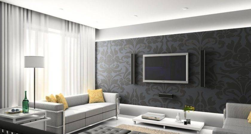 Dark Gray Wall Design Living Room