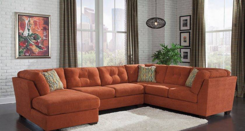 Delta City Rust Laf Sectional Ashley