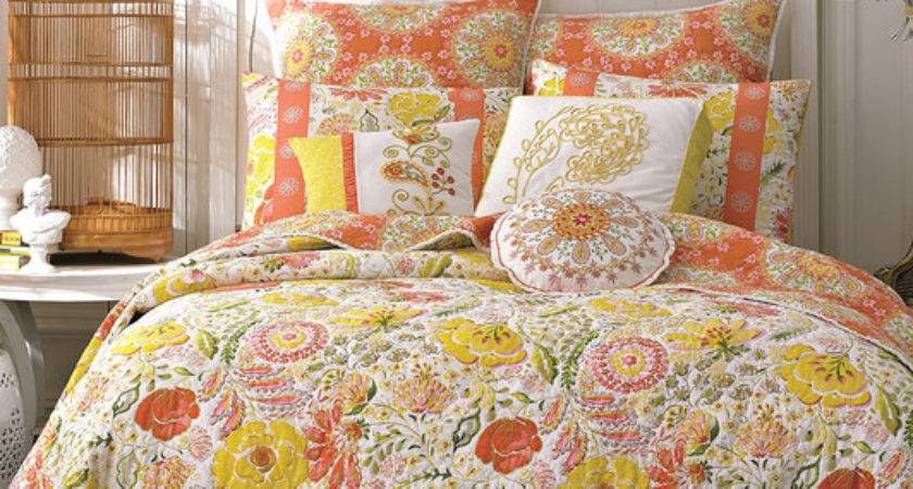 Dena Home Meadow Orange Yellow Reversible Comforter
