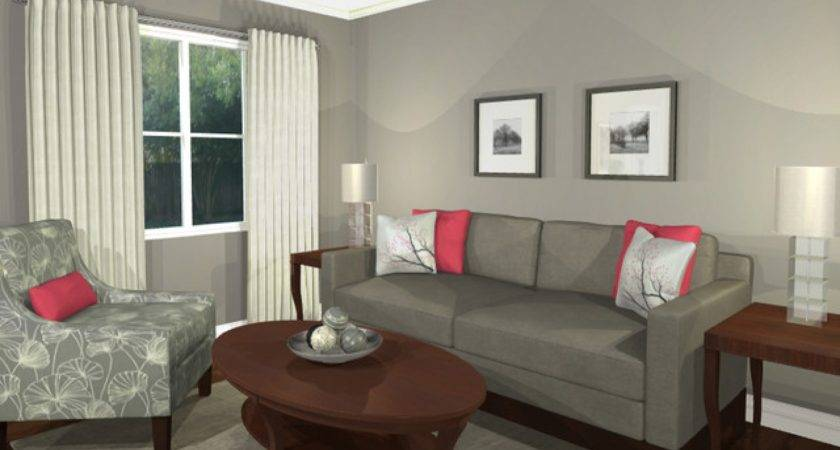 Design Living Room Virtual Pink Grey Pattern