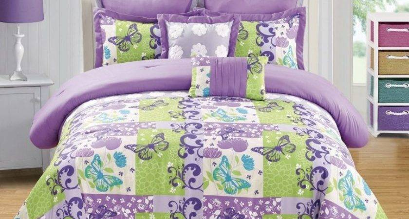 Design Purple Lime Green Bedding White Curtains