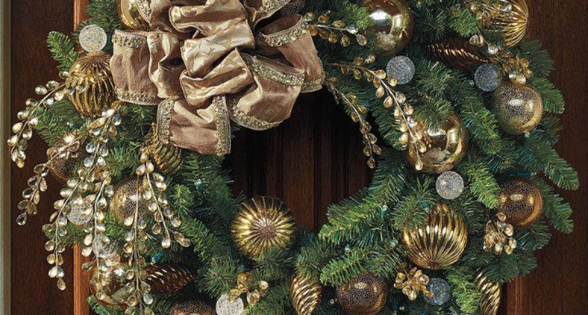 Designer Decorated Bronze Gold Cordless Outdoor Christmas