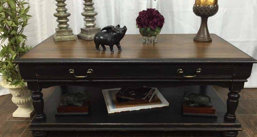 Distressed Coffee Table Black Tan Paint