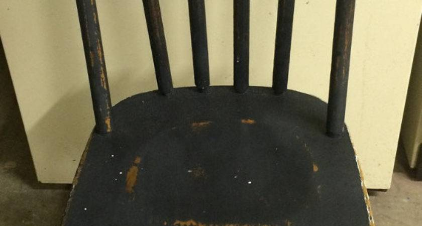 Distressed Vintage White Charcoal Wood Chair