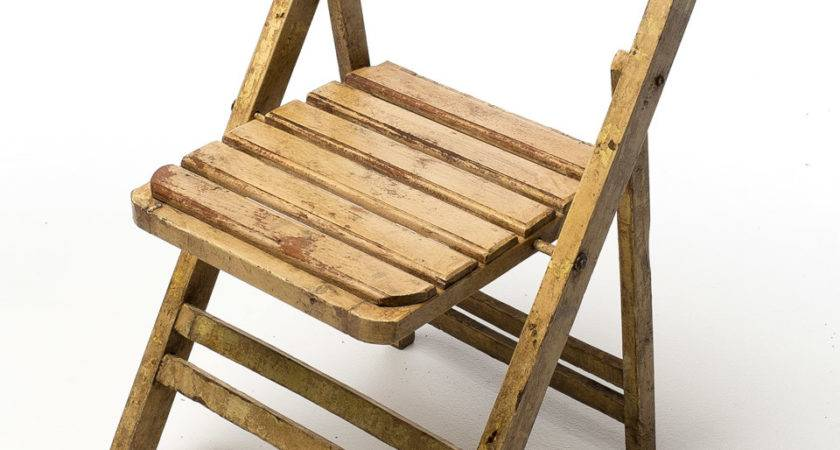 Distressed Wood Folding Chair Red Back Acme