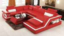 Divani Casa Modern Red White Leather Sectional Sofa