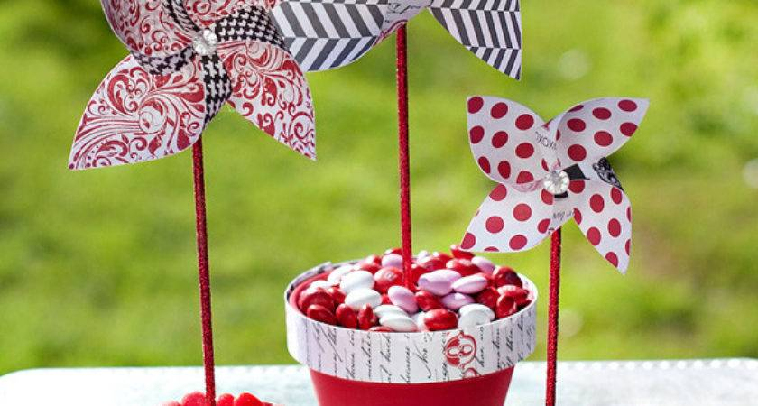 Diy Paper Pinwheels Candy Centerpiece Hostess
