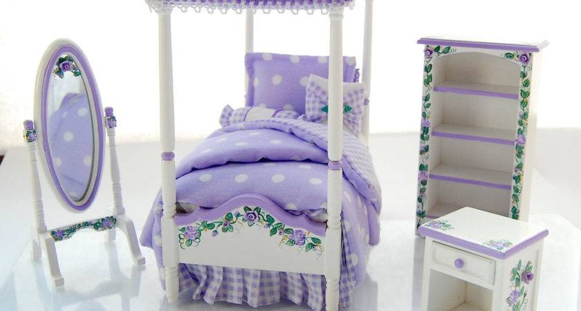Dollhouse Miniature Lavender Purple Girl Canopy Twin Bed