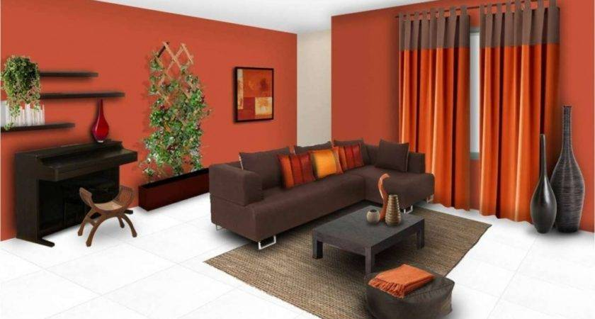 Drawing Room Wall Orange Colours Combinations Color