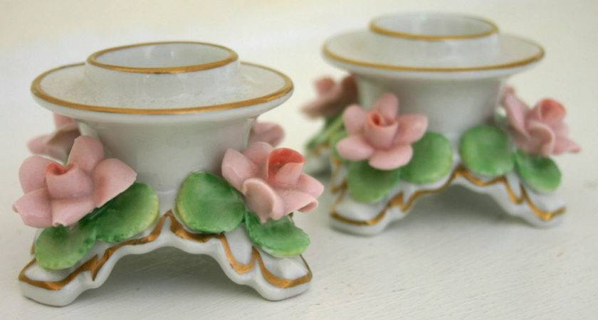 Dresden Alka Kunst Candle Holder Pair Marked Pretty Little