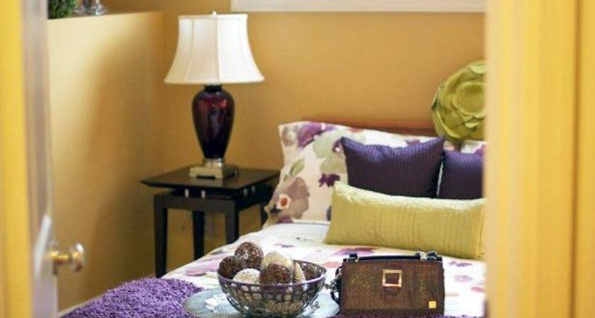 Eclectic Bedroom Purple Gold Color Combo