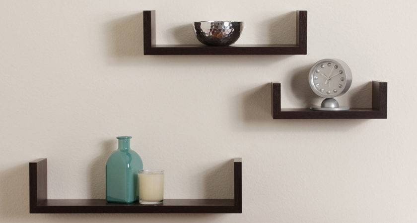 Elegant Floating Shelves Walnut Brown Finish Set