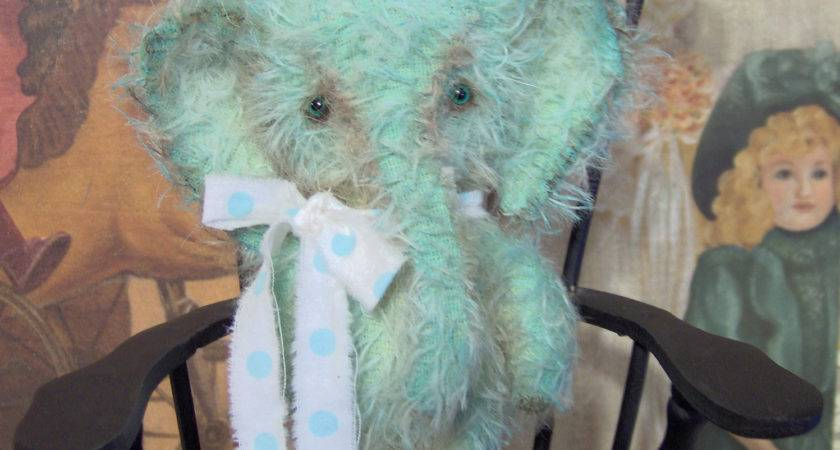 Elephant Pattern Primitive Mohair Sewing Mini Elly