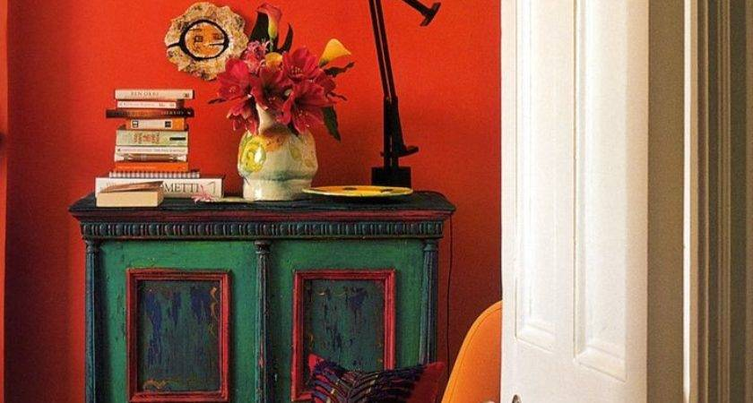 Emerald Green Orange Living Room