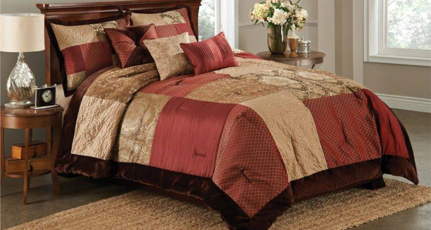 Essential Home Piece Red Brown San Marco Comforter Set