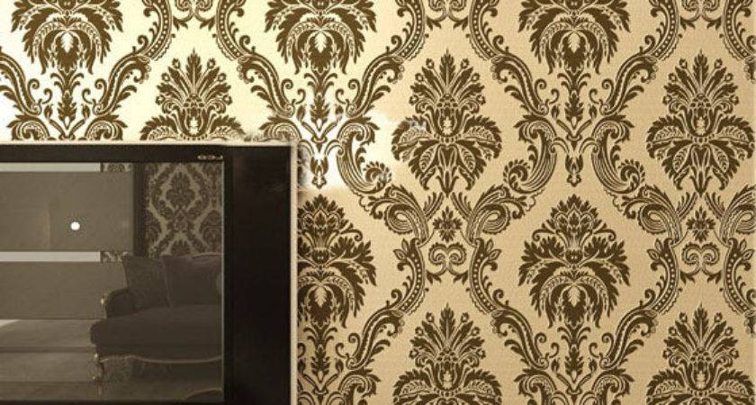 European Damask Pvc Flocking Floral Wall Paper