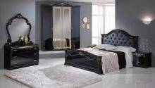 Eva Black Gold Door Bedroom Set Italian Classic