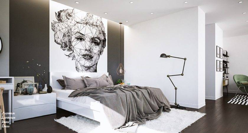 Fascinating Bedroom Design Ideas Using White Black