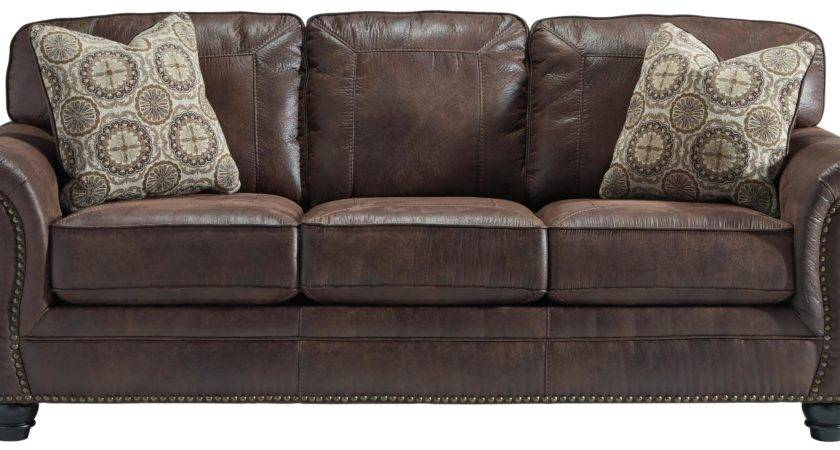 Faux Leather Sofa Rolled Arms Nailhead Trim