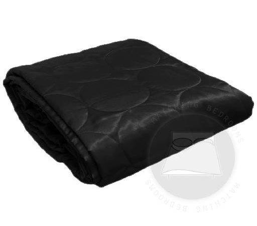 Faux Silk Bedding Quilted Satin Circle Design Black Double