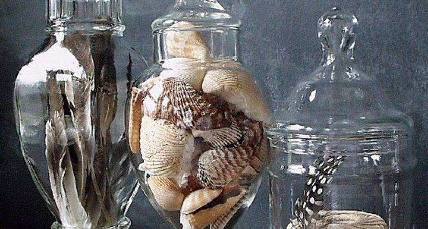 Fill Apothecary Jars Feathers Shells Rope Rocks
