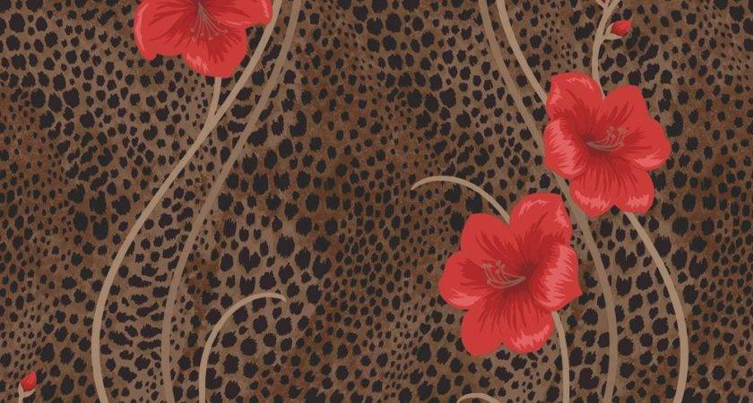 Fine Decor Kariba Floral Chocolate Brown Red