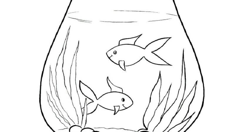 Fish Tank Clipart Bowl Drawing Pencil Color
