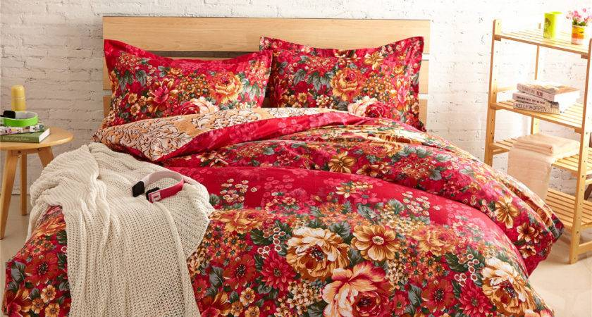 Floral Housse Couette Roupa Cama Comforter Sets Red