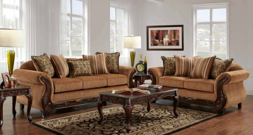Florence Gold Sofa Loveseat Fabric Living Room
